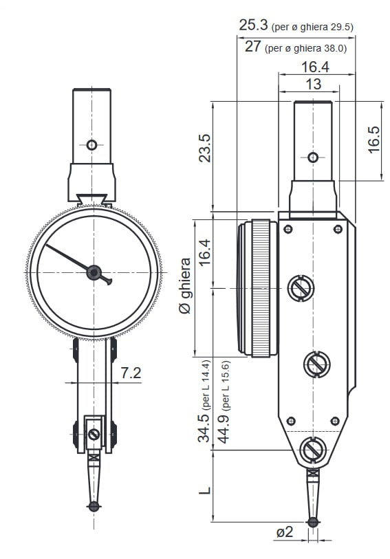 Misure e dettagli tastatore Rupac modello 302