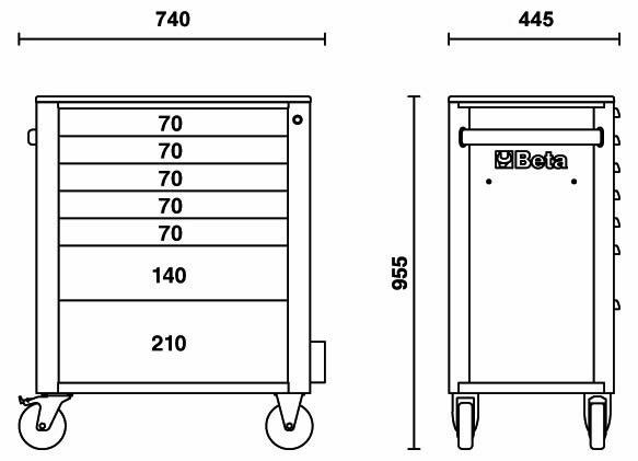Misure cassettiere Beta C24S/6 con 6 cassetti