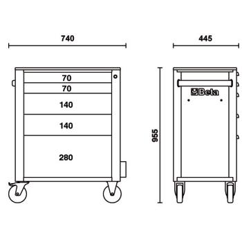 Misure cassettiere Beta C24S/5 con 5 cassetti