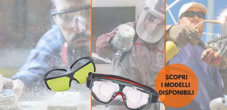 Linea di DPI a marchio 3M per la protezione degli occhi. Lenti antigraffio, antiappannamento, graduate, occhiali oscurati o protettivi
