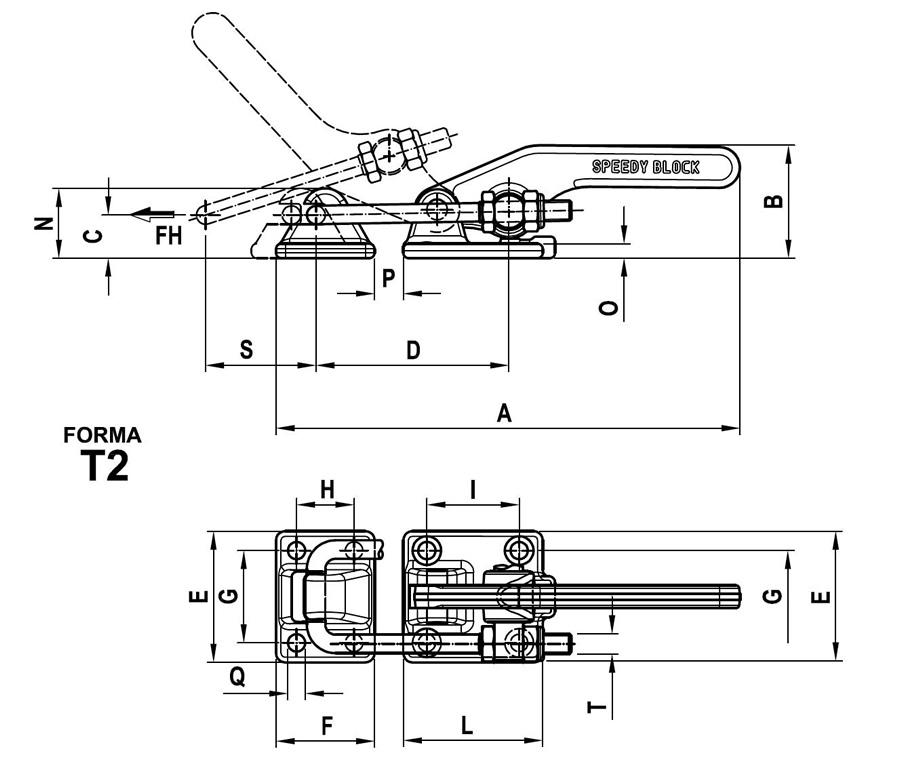 scheda tecnica e misure Bloccaggio serie orizzontale con tirante Speedy Block T2