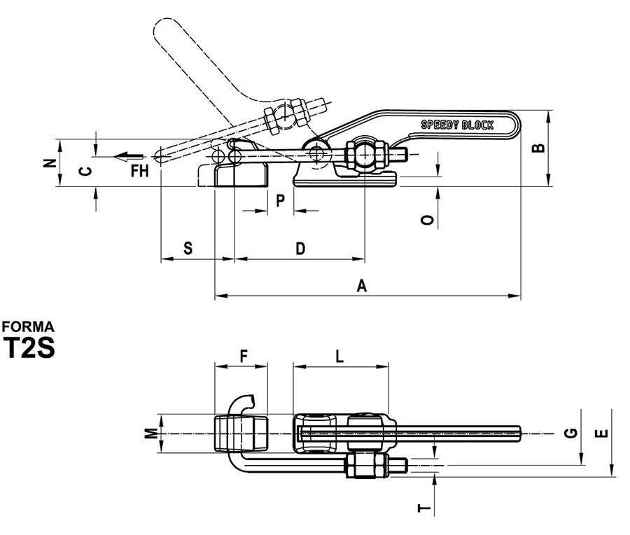 scheda tecnica e misure Bloccaggio serie orizzontale con tirante Speedy Block T2S
