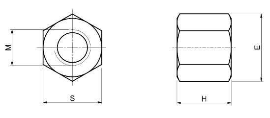 Dimensioni Dadi alti torniti SPD S340