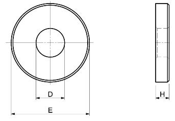 Dimensioni D-E-H Rondelle alte tornite SPD S380