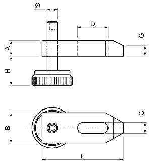 Dimensioni Staffe regolabili con vite passo standard SPD S230