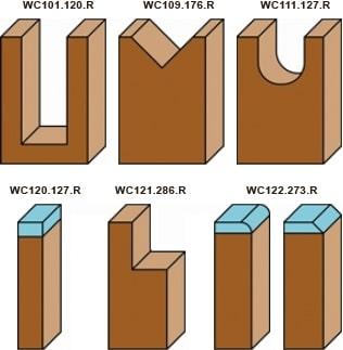 schema kit frese a coltellino assortite per legno Klein