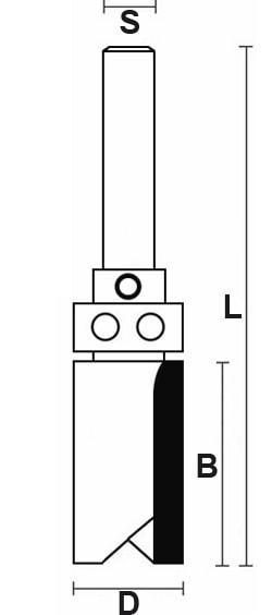 schema tecnico fresa tagliente con cuscinetto dritto HW Klein