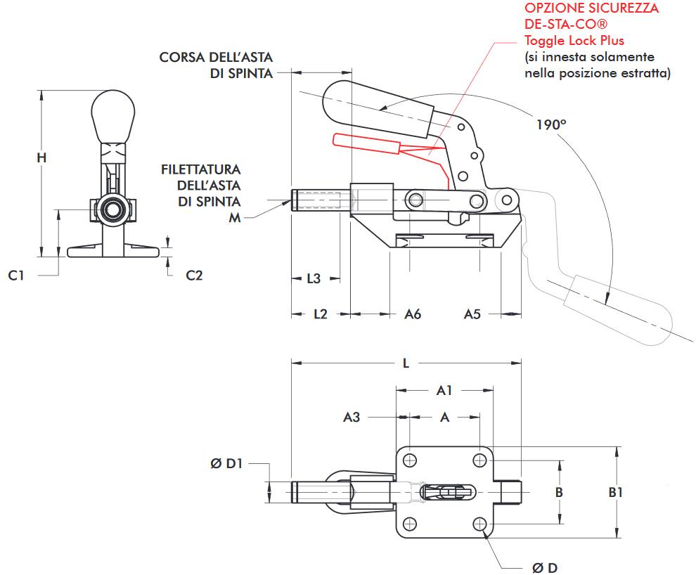 schema tecnico bloccaggio rapido 603-M Destaco