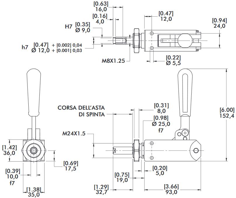 schema tecnico bloccaggio rapido 614-M Destaco