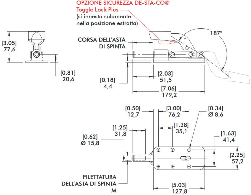 schema tecnico bloccaggio rapido 630-MR Destaco