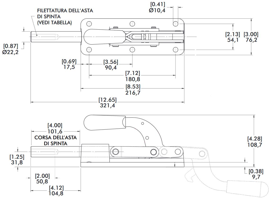 schema tecnico bloccaggio rapido 640-M Destaco