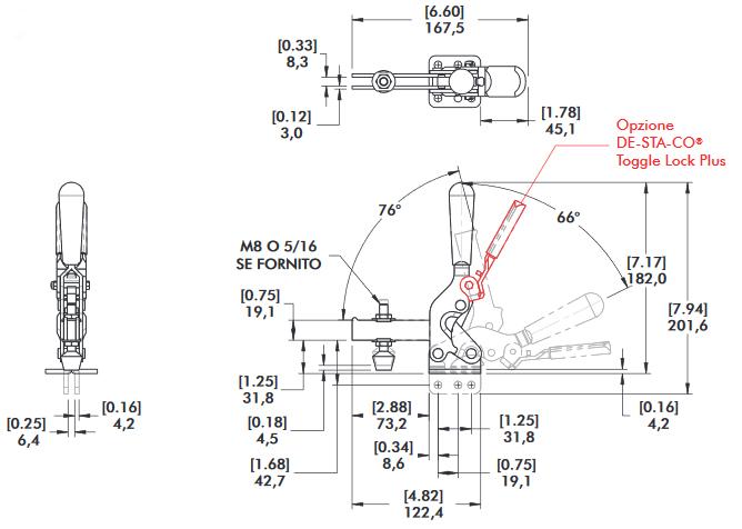 schema tecnico bloccaggio rapido verticale 2007-U Destaco