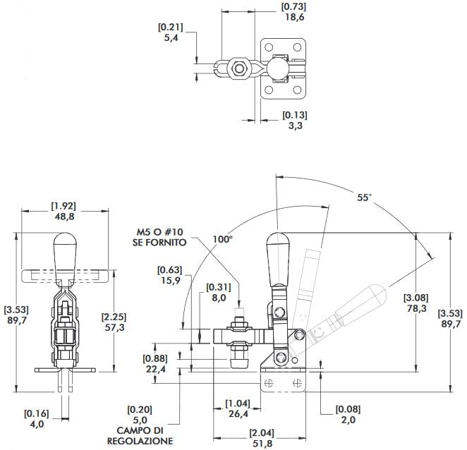schema tecnico bloccaggio rapido verticale 201-TU Destaco