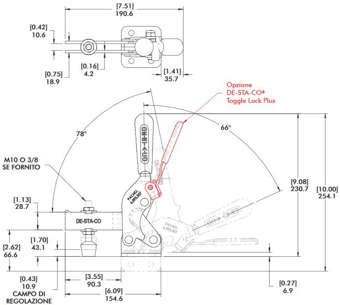 schema tecnico bloccaggio rapido verticale 2010-U Destaco
