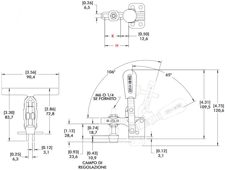 schema tecnico bloccaggio rapido verticale 202-U Destaco