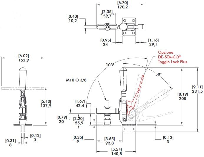 schema tecnico bloccaggio rapido verticale 210-U Destaco