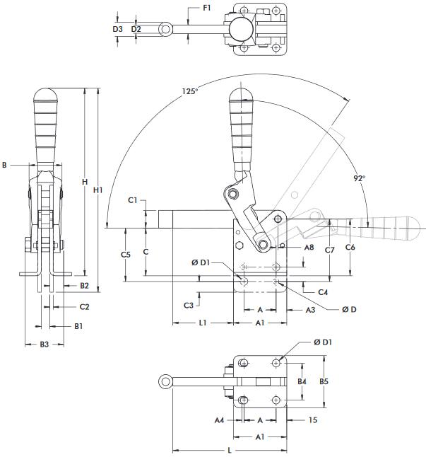 schema tecnico bloccaggio rapido verticale 533-L Destaco