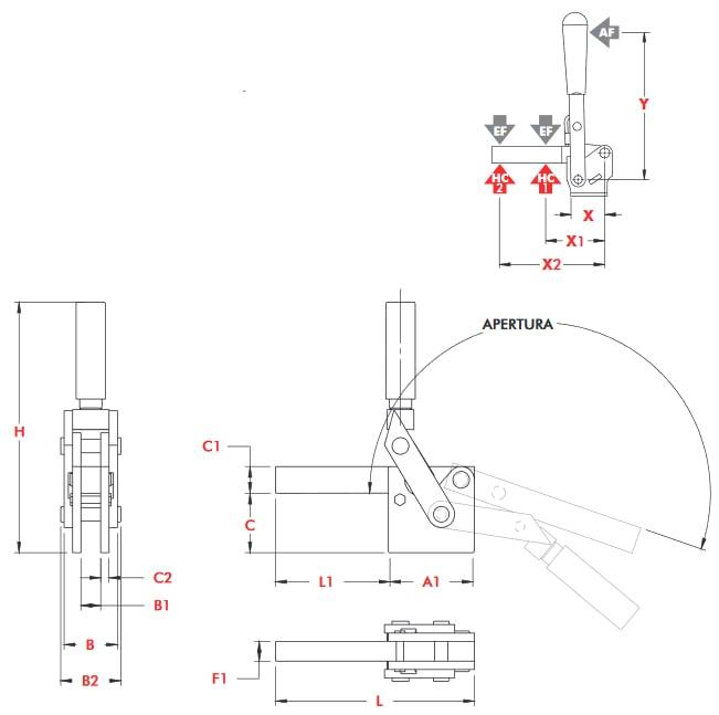 schema tecnico bloccaggio rapido verticale 548 Destaco