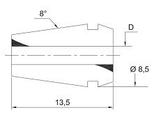 schema tecnico pinza ER08 LTF