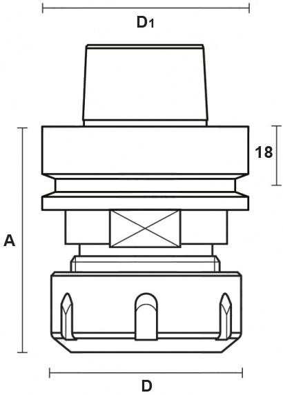 schema tecnico portautensili cono HSK63F  Klein