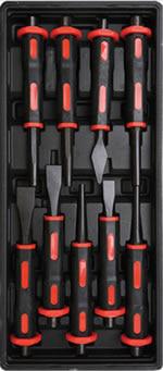 vaschetta composta da 9 scalpelli e punteruoli