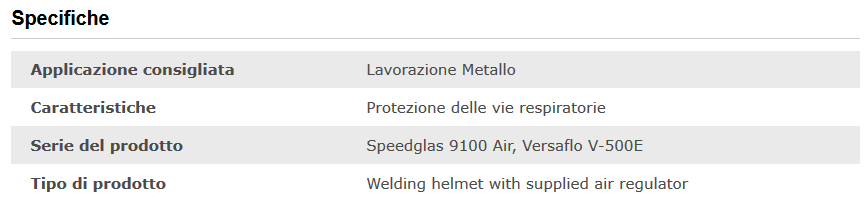 Specifiche tecniche maschera saldatura Speedglas