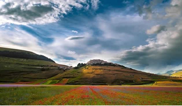 Vista altopiano fiorito Castelluccio di Norcia